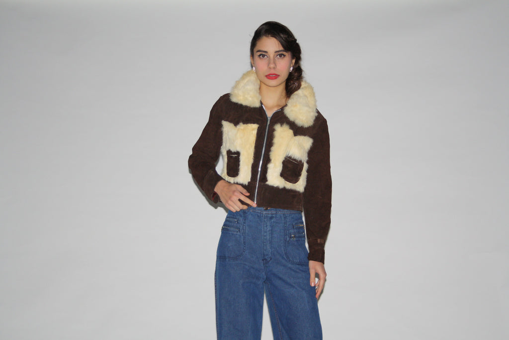 1970s Cropped Brown Suede and White Rabbit Fur Coat