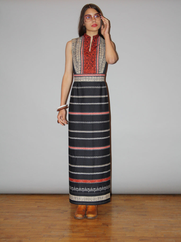 1960s Vintage Boho Ethnic Hippie Long Festival Maxi Dress