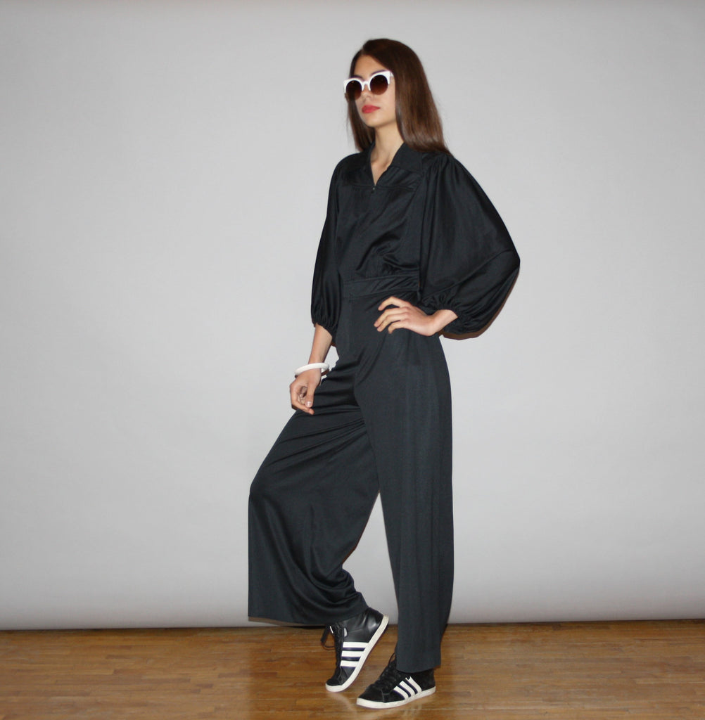 Vintage 1970s Black Palazzo Disco Boho Jumpsuit with Bell Bottom Pants and Dolman Sleeve