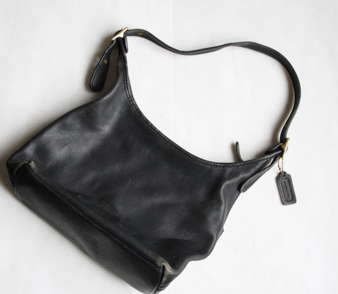 1970s Vintage Coach Black Leather Designer Hobo Purse Bag