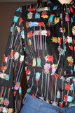 1970s Graphic Floral Rainbow Tulip Black Disco Secretary Tie Blouse