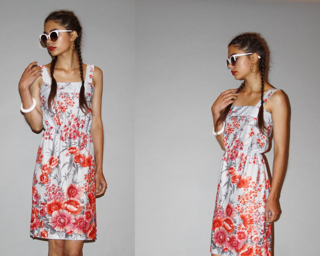 Vintage 1970s Gray Floral Cherry Blossom Pink Flowers Summer Sun Dress