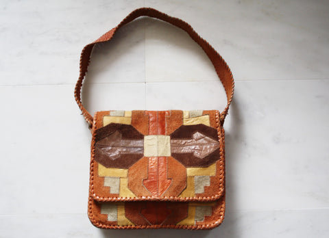 Vintage 1960s Multi Color Patchwork Leather Suede Hippie Boho Festival Purse Bag