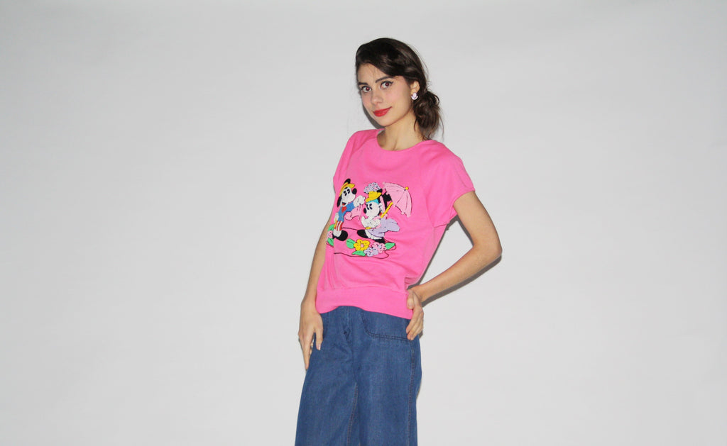 1980s Vintage Disney Pink Mickey Mouse Minnie Mouse Novelty Sweater