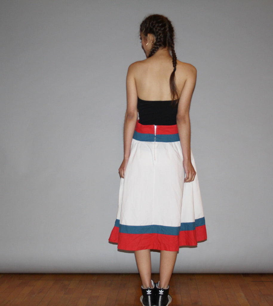Vintage 1960s Nautical Preppy Red White and Blue Cotton Circle Skirt
