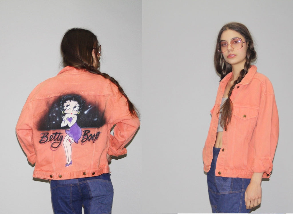 1980s Betty Boop Vintage 80s Peach Coral Airbrush Denim Jean Jacket