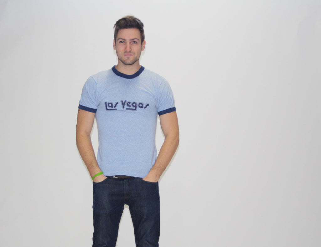 Viva Las Vegas in this vintage 1980s gym blue ringer tee.
