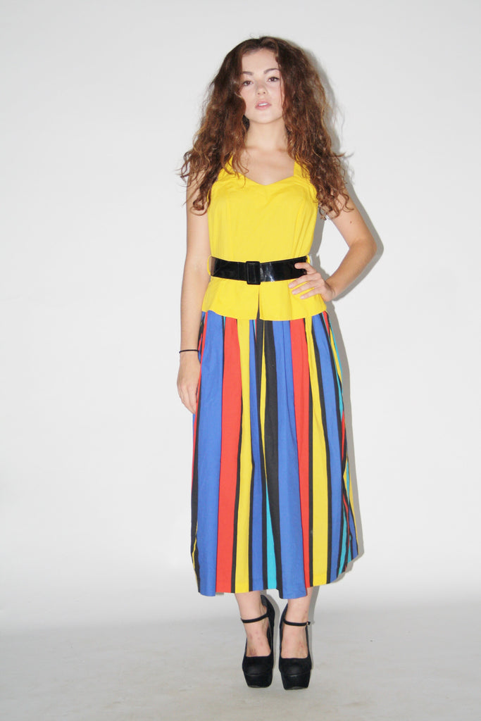 1980s Vintage Primary Color Circus Stripe Cotton Dress