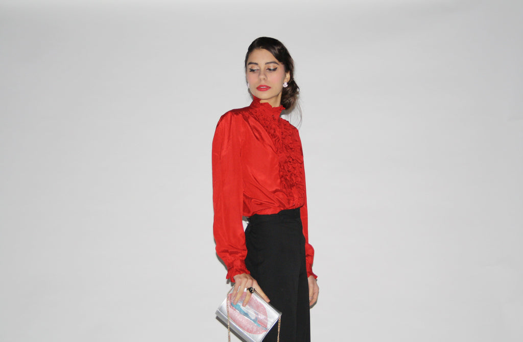 1970s Vintage Red Ruffle Button Up Tuxedo Secretary Blouse