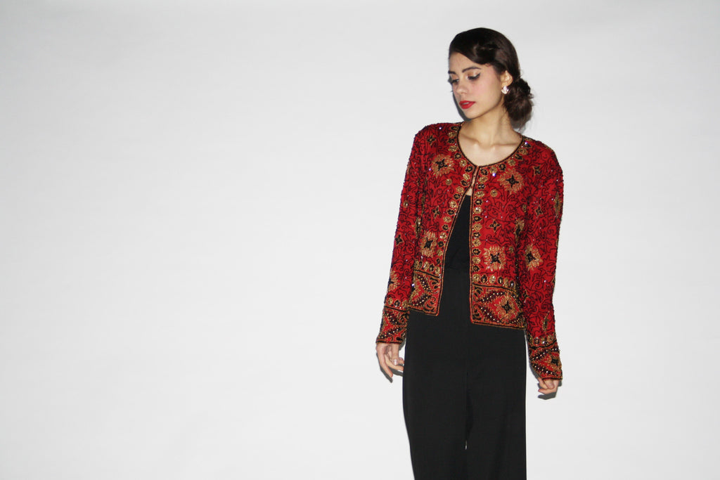 1980s Vintage Red and Black Beaded Sequins Jacket