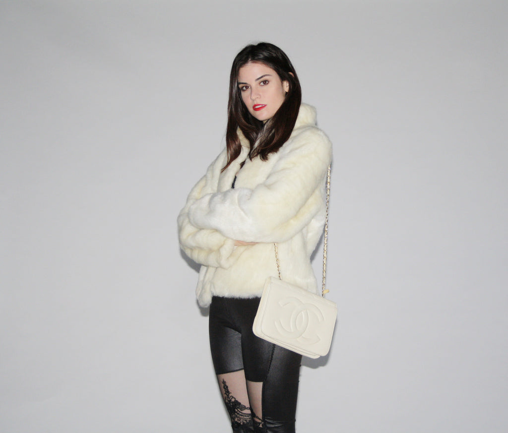 1980s Ivory Faux Fur Coat