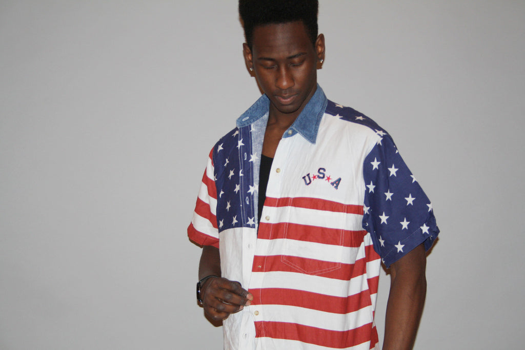 1990s Red White and Blue Stars and Stripes American Flag USA Patriotic Graphic Short Sleeve Button Up Men's Dress Shirt
