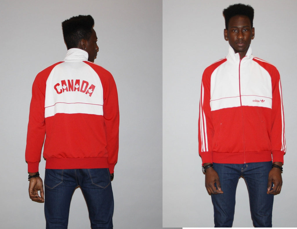 Vintage 1980s Adidas Red Trefoil Canada Maple Leaf Track Warmup Gym Jacket