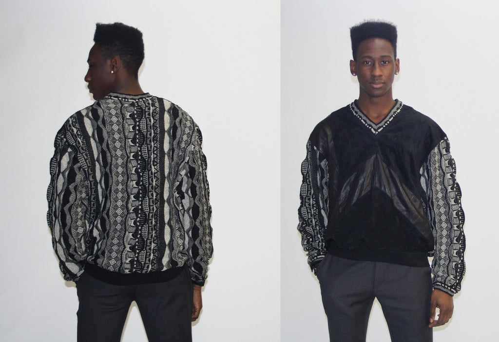 1990s Leather Coogi Hip Hop Sweater