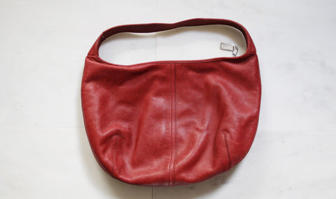 Vintage Coach Red Leather Shoulder Purse Bag