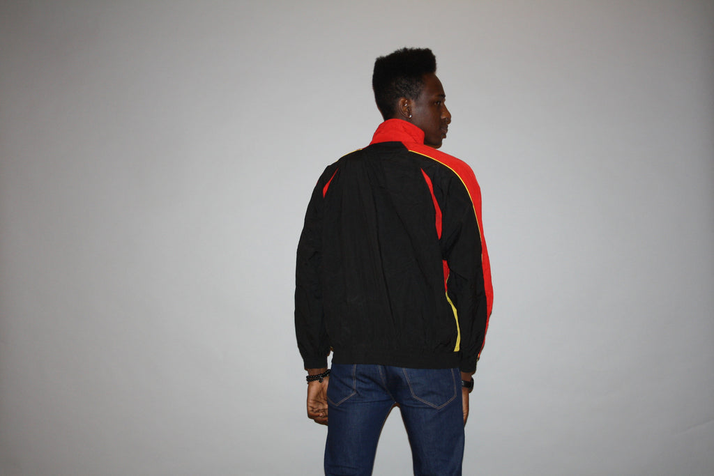 1990s Nike Red and Black Colorblock Track Jacket Running Windbreaker