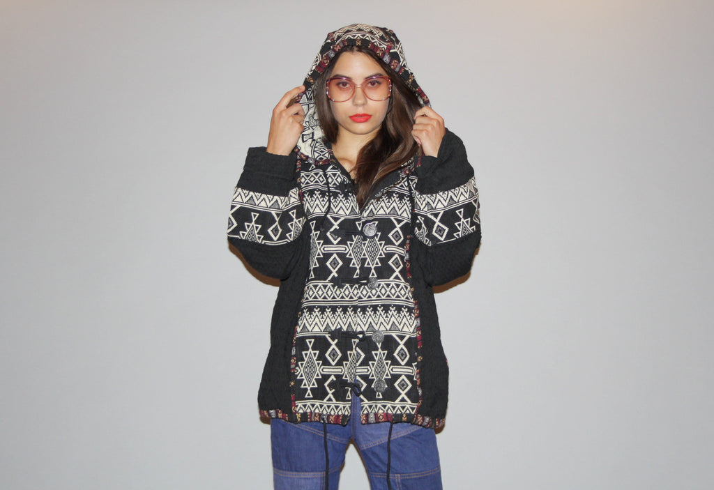 1990s Tribal Woven South West Grunge Festival Hooded Jacket