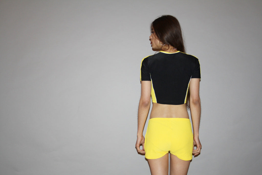 Vintage 90s Black and Yellow Two Piece Crop Top and Short Shorts Spandex Hip Hop Biker Set