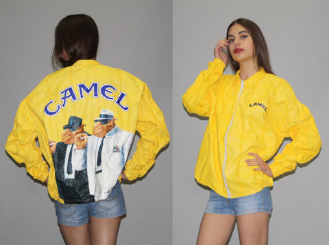 90s Tyvek Jacket CAMEL CIGARETTES 90s Coat Windbreaker Smoker Plastic Grunge Bright Vintage 80s Hipster Smoking Yellow Extra Large 61