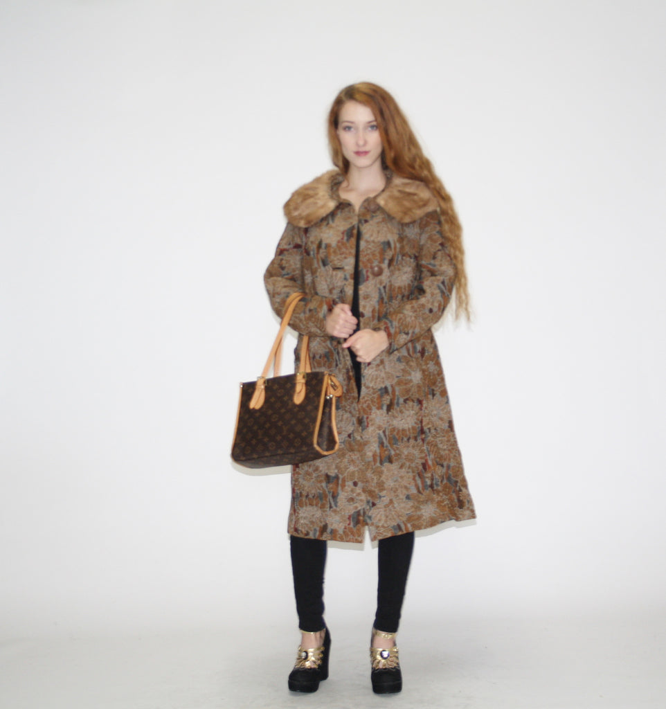 1960s Vintage Floral Tapestry Wool Coat with Fur Collar