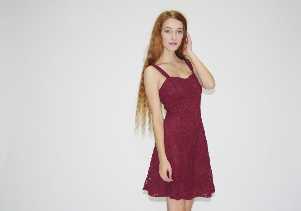1990s Vintage Lace Oxblood Party Dress
