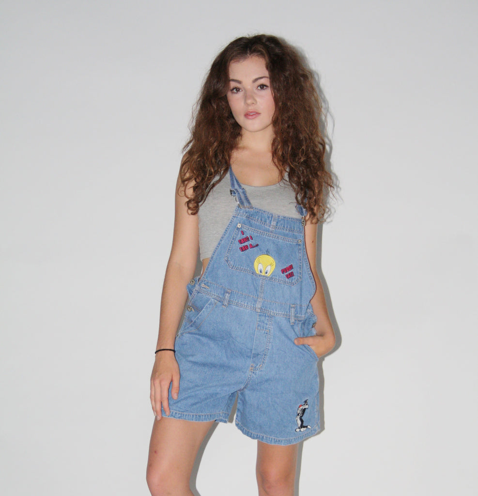 1990s Looney Tunes Silvester and Tweety Vintage Overall Denim Shorts