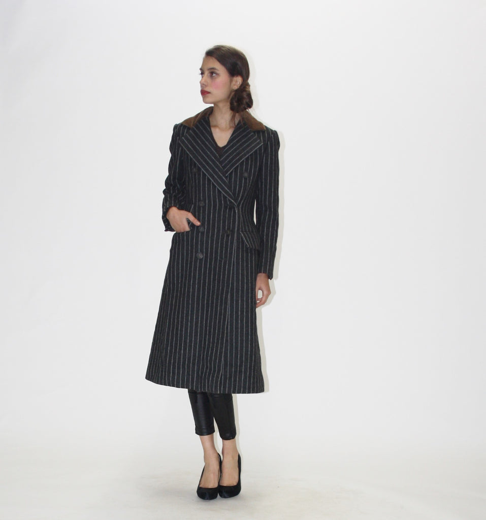 1980s Vintage Designer Bill Blass Pinstriped Coat
