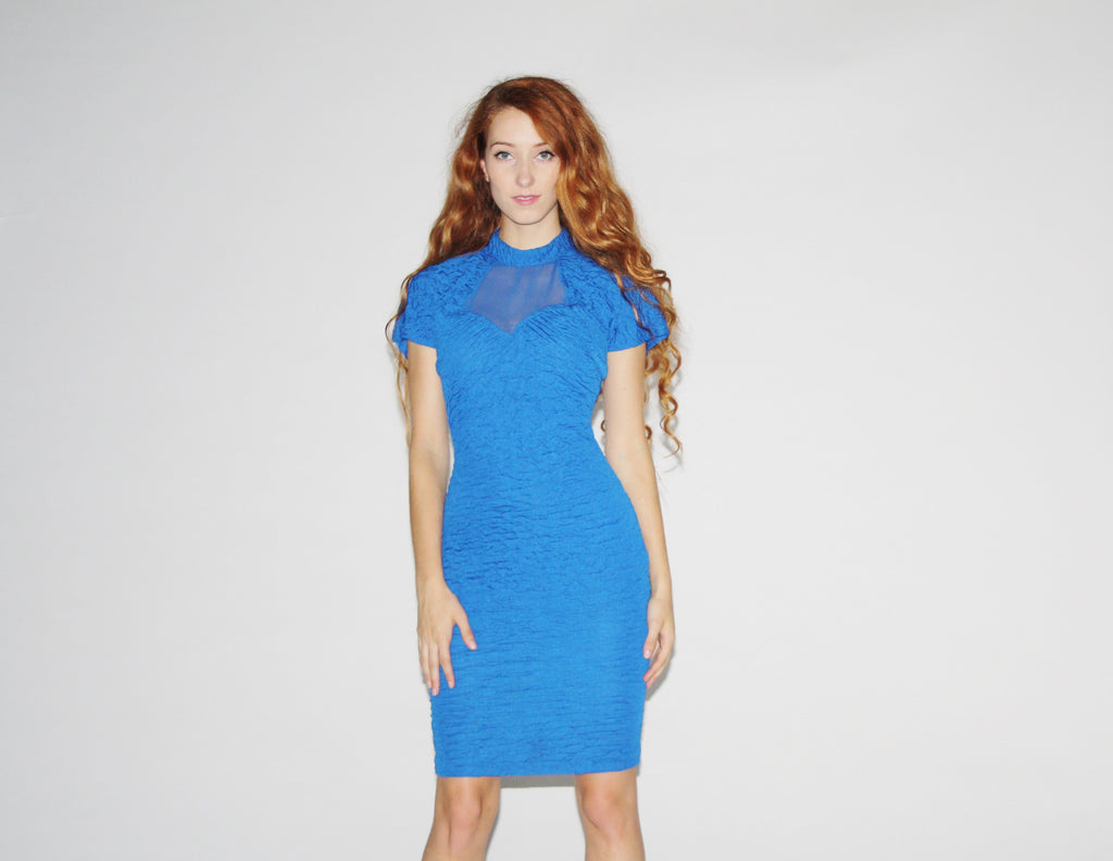 1980s Electric Blue Body Con Party Dress