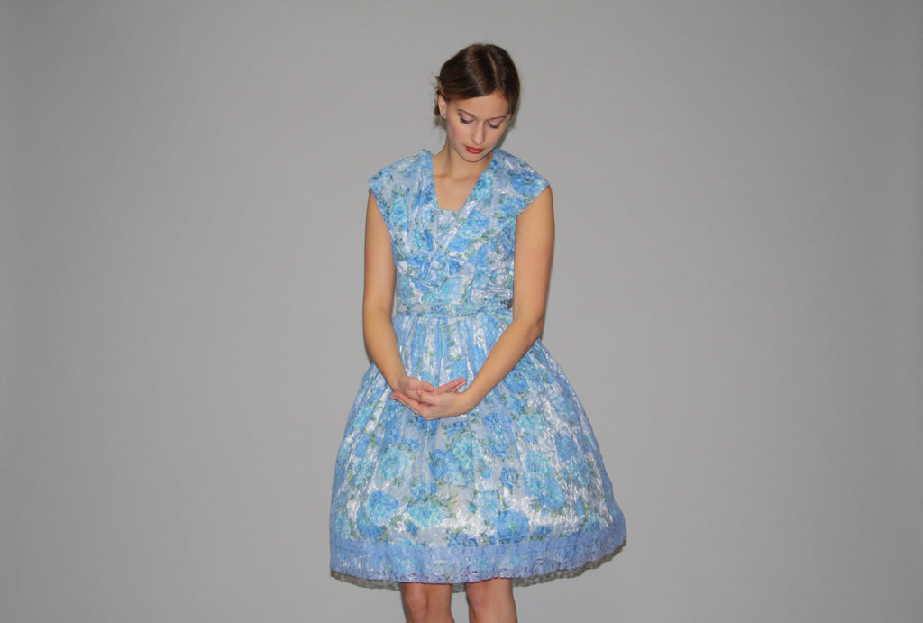 1950s Vintage  Blue Lace Rose Cupcake Wedding Floral Dress