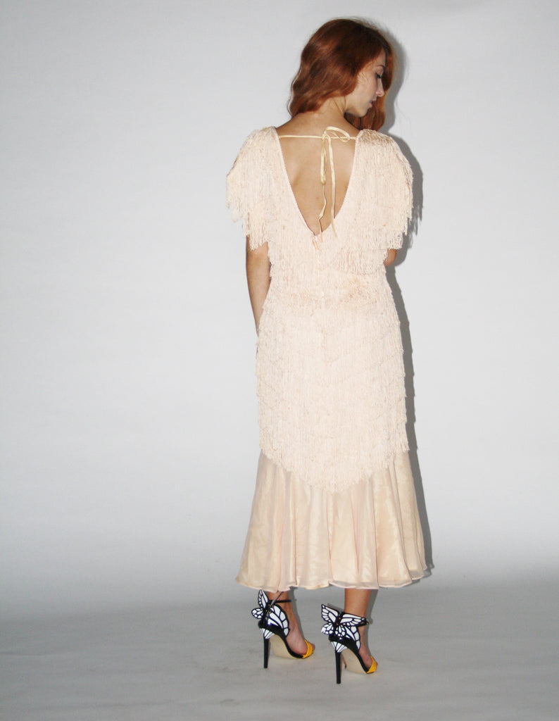 1980s Vintage Blush Peach Vintage Nude Fringe Cocktail Flapper