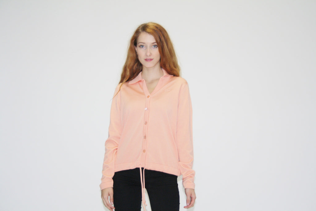 1970s Peach Designer Givenchy Sport Blouse