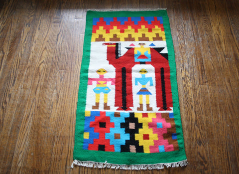 1960s Vintage South West Ethnic Rainbow Camel Novelty Kilim Rug