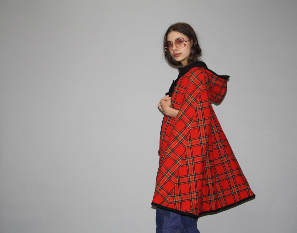 1960s Vintage Pendleton Reversible Red and Black Plaid Wool Cape