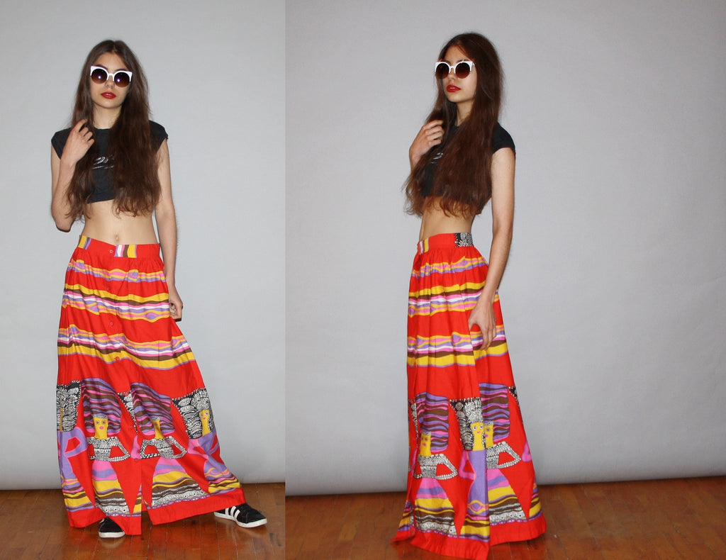 Rare Vintage Rainbow 1960s Graphic Novelty African Women Tribal Hippie Boho Festival Maxi Skirt