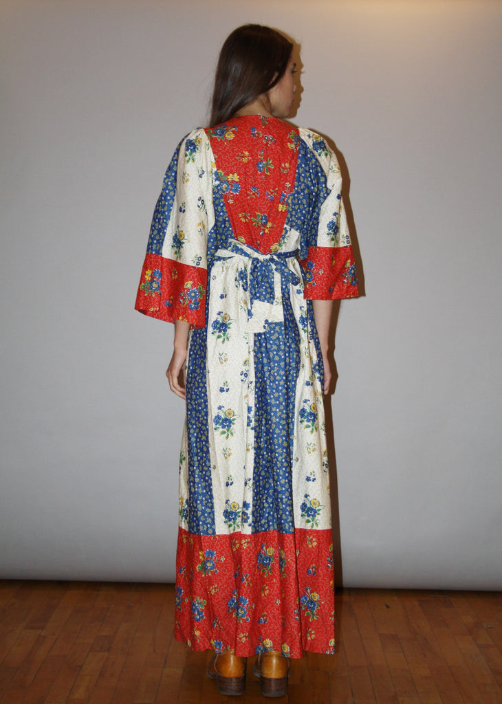 Vintage 1960s Floral Patchwork Red and Blue Hippie Boho Festival Maxi Dress