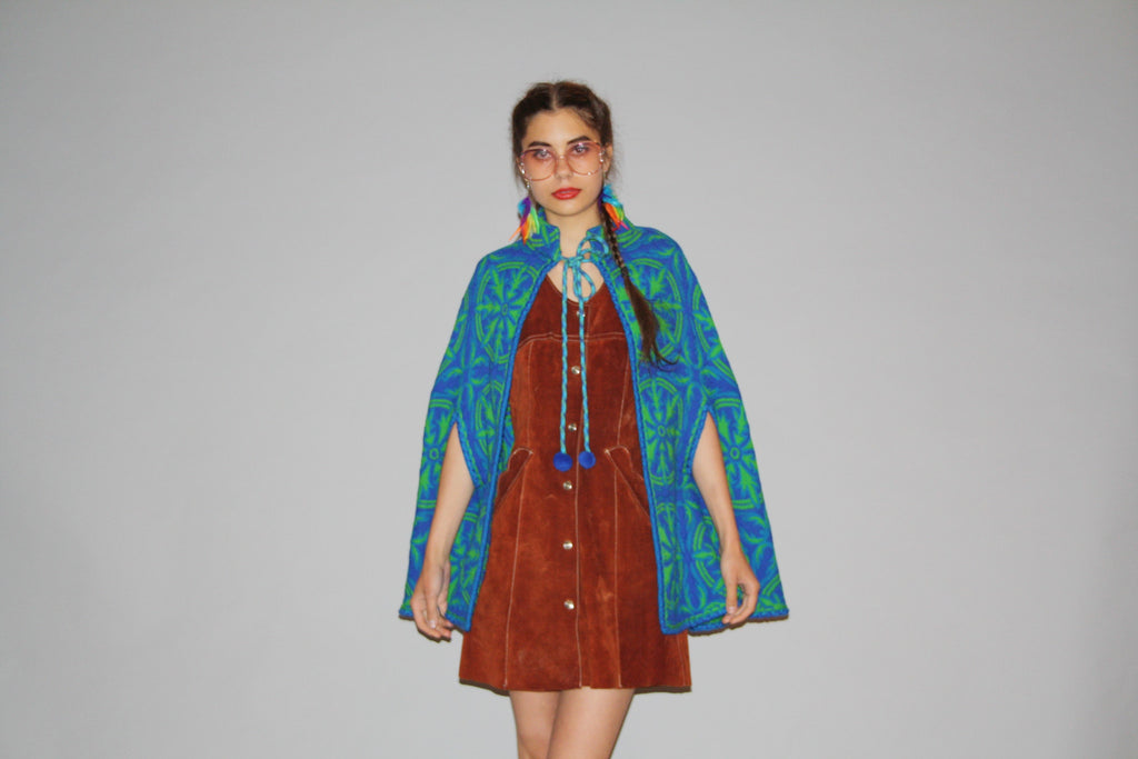 1960s Vintage Teal Bohemian Boho Tapestry Hippie Wool Cape