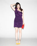 Vintage 1990s Purple Bodycon Party Dress