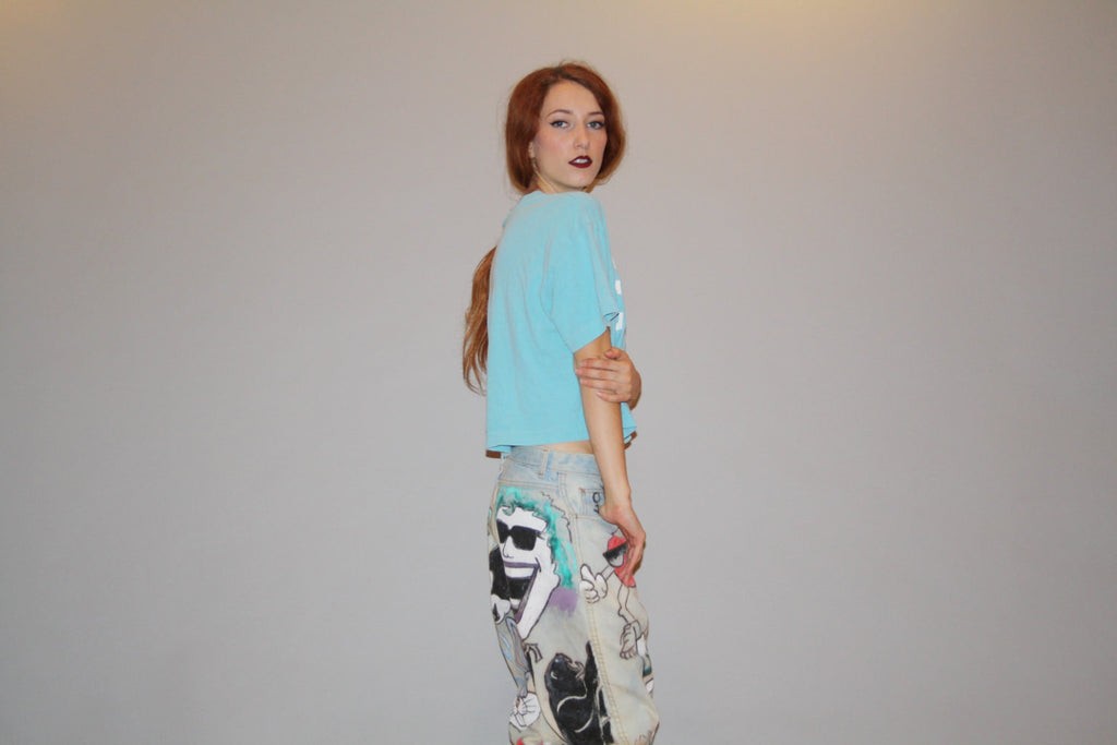 Vintage 80s Pastel Turquoise Blue EVERLAST Paper Thin Cropped T Shirt Belly Tops Crop Top
