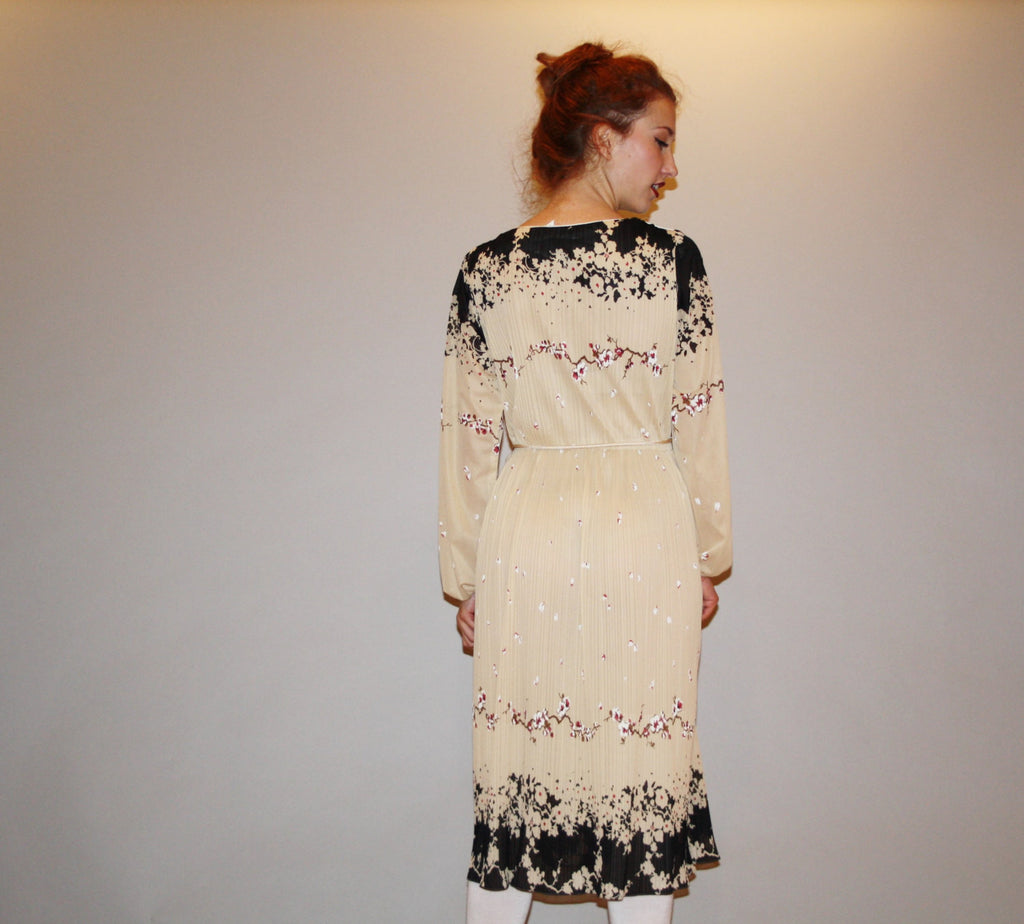 Semi Sheer Vintage 1970s Black Floral Graphic Dress