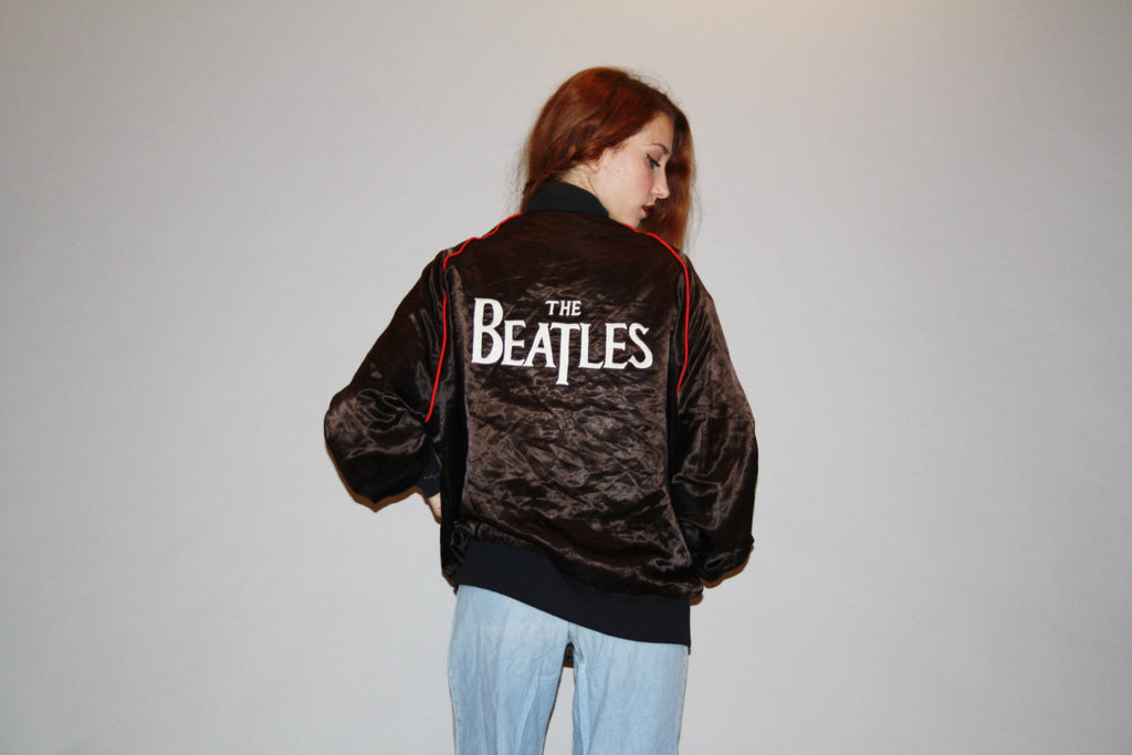 Vintage 1970s The Beatles RARE Black Satin Starter Bomber Jacket - Satin Starter Jackets