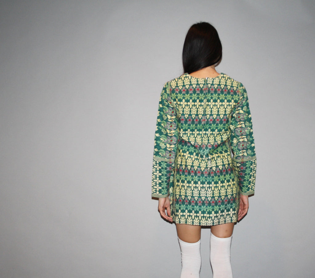 1960s Vintage Green Ethnic Indian Handwoven Bohemian Boho Tapestry Hippie Dress