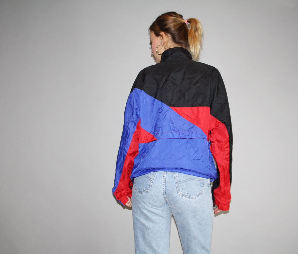 1990s Grahic Nike Red and Blue Colorblock Urban Hip Hop Nylon Windbreaker Jacket