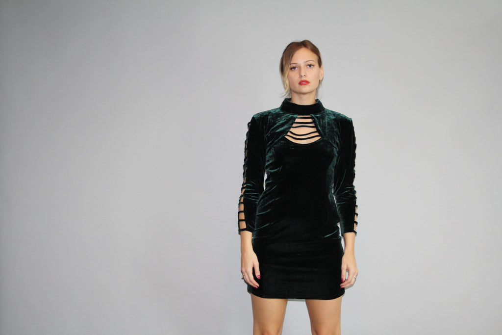 1990s Vintage Forest Green Velvet Bodycon 90s Party Dress