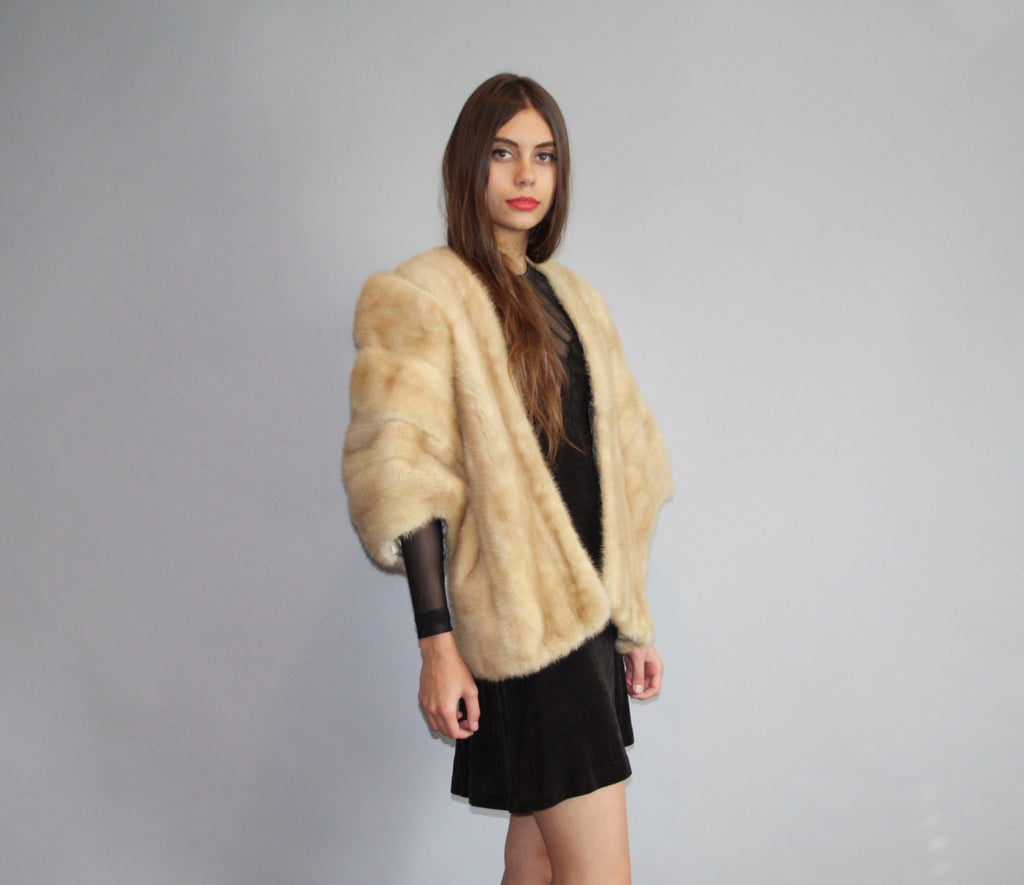 1950s Vintage Blond Mink Stole Cape Coat