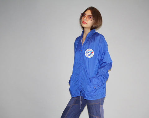 1980s Classic Toronto Blue Jays MLB Baseball Jays Hooded Hoodie Nylon Windbreaker Jacket