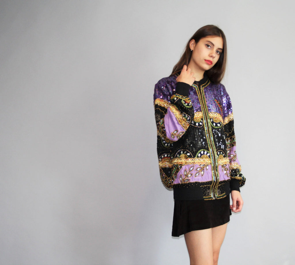1990s Vintage Purple and Gold Black Silk Beaded Sequins Bomber Jacket