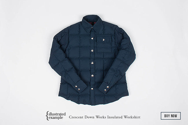 Illustrated Example Crescent Down Works Insulated Workshirt