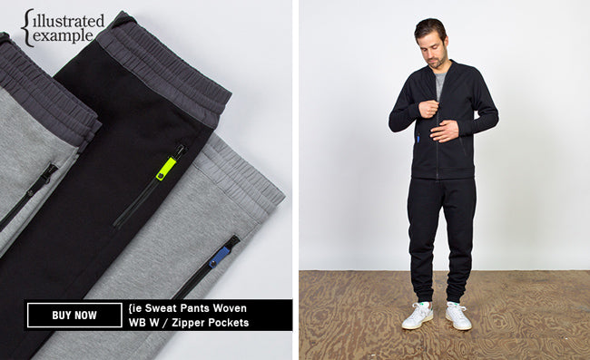 Illustrated Example Contrast Woven Waistband Sweat Pants With