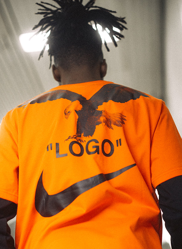 Nike off-white tee team orange