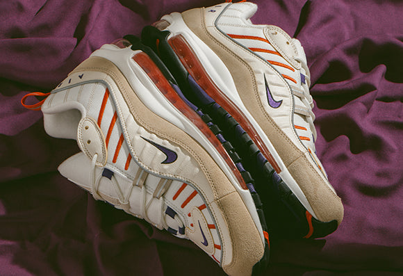 Nike Air Max Tailwind IV Desert Ore and Nike Air Max 98 Sail / Court Purple